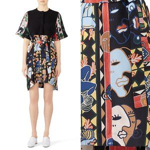 Carven Abstract Art Print Tied Mini Dress